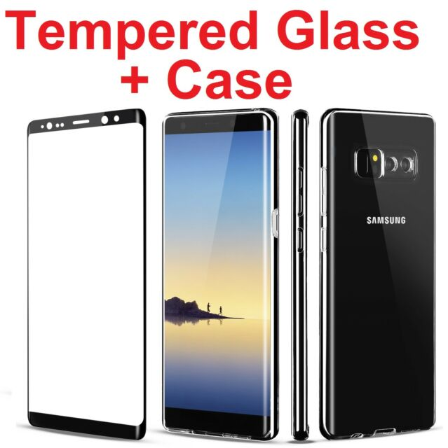 pretty nice 4424b bea2d Full Cover Tempered Glass Screen Protector Clear Case for Galaxy Note 8