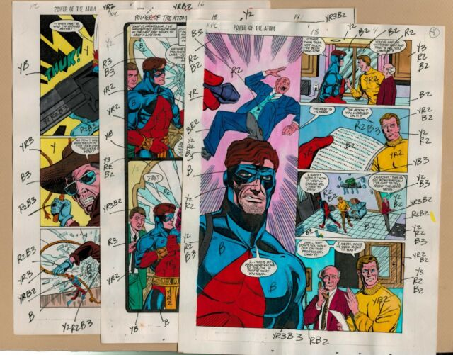 Power of the ATOM Colorist Page Set of 3 comic art DC 1989 Nansi Hoolihan Wow!
