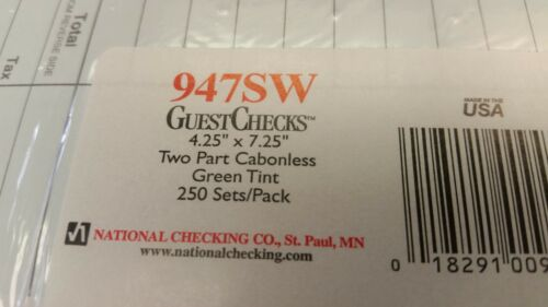 "#947SW NATIONAL 250 PER PACK RESTAURANT 4/""x 7/"" CARBONLESS RESTAURANT CHECKS"