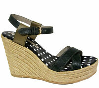 Marc By M Jacobs Quero Espadrille Wedges Sz 9.5/39.5 Green Printed Lizard