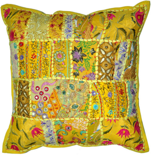On Sale 20x20 Indian Patchwork Pillow Cover,Yellow Bohemian Pillow,Throw Cushion