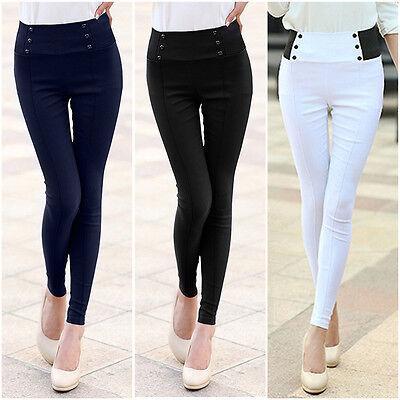 New Hot Womens High Waist Stretch Skinny Leggings Pencil Pants Trousers Slim Fit