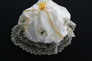 RARE-VICTORIAN-COTTON-NIGHT-CAP-WITH-LACE-TRIM-AND-GOLDEN-SILK-RIBBON-11-034-X-12-034