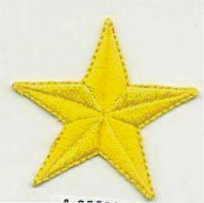 """1 1//8/"""" x 1 1//4/"""" inches Lot of 4 Yellow Stars Embroidered Patch"""