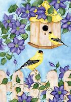 77 Goldfinches At Birdhouse With Flowers Summer House Flag 28x40 Banner