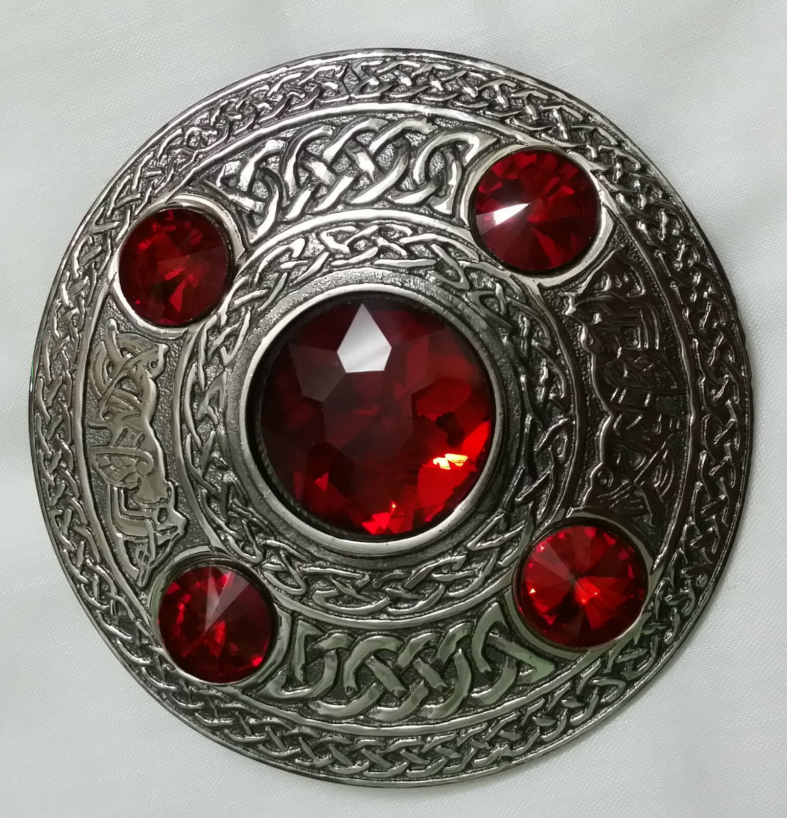 Celtic Fly Plaid Brooch Red Stone Antique Finish Scottish Kilt Pin & Brooches 4