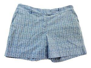 Nautica Womens Shorts Sz 8 Small Cotton Blend Stretch Blue White Geometric Print