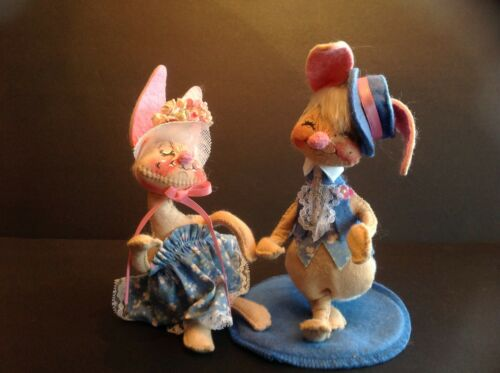 "Vintage Annalee Doll Easter Bunnies Couple 8"" Tall"