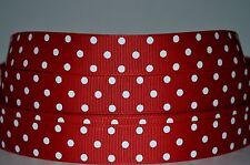 "1 yd 7/8"" Grosgrain Ribbon Polka Dot White Printed On Red 4 Hairbows."