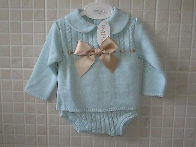 Baby Boys Adorable Spanish Style White Smocked Top /& Blue Jam Pants Cotton Suit