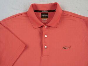 Greg-Norman-Tasso-Elba-Men-039-s-Five-Iron-Play-Dry-S-S-Salmon-Golf-Polo-Shirt-M
