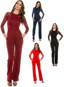 eleganter-Langarm-Overall-Gr-S-XL-Jumpsuit-Damen-Einteiler-Hosenanzug