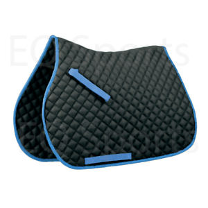 Fabulous Offer Cotton Quilted Saddle Pad//Cloth Full Size Black//Baby Blue Binding