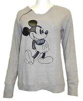 Disney Womens Sweatshirt Sz Med Mickey Mouse Leather Patch Zipper Soft Hachi