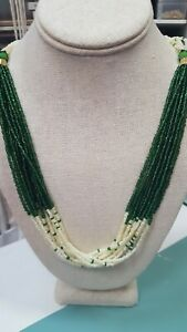 Vintage-Multi-Strand-Green-And-Cream-Seed-Bead-Necklace