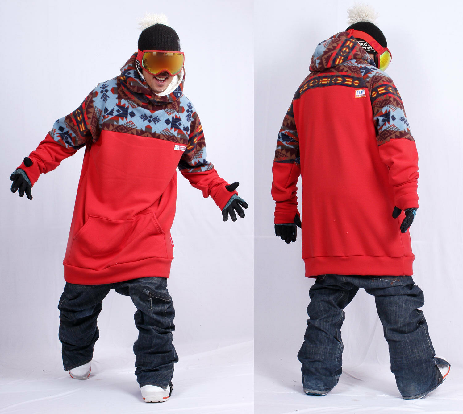 December long tall hoodie ski snowboard sports-gaia ROT