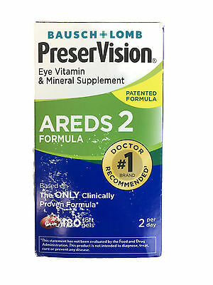 Bausch +Lomb PreserVision Eye Vitamin AREDS 21 -180 Soft Gels - SEALED -EXP 2018