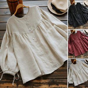 Oversize-Femme-College-Bouton-Manche-longue-Decontracte-lache-Haut-Chemise-Shirt