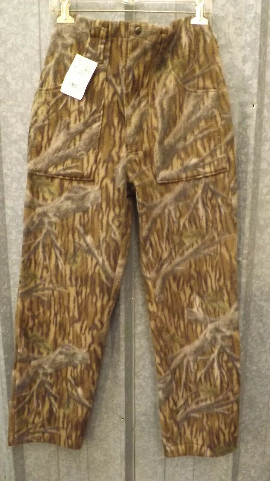 New Vtg Mossy Oak Tree Stand Camouflage Polar Fleece Hunting Pants sz L Camo