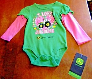 6c5e4185c John Deere girls Green top w/hearts and tractors w/long pink sleeves ...