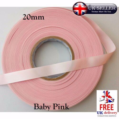Ribbon 20mm Baby Pink White Decoration Sewing Satin Silk Present Gift Craft