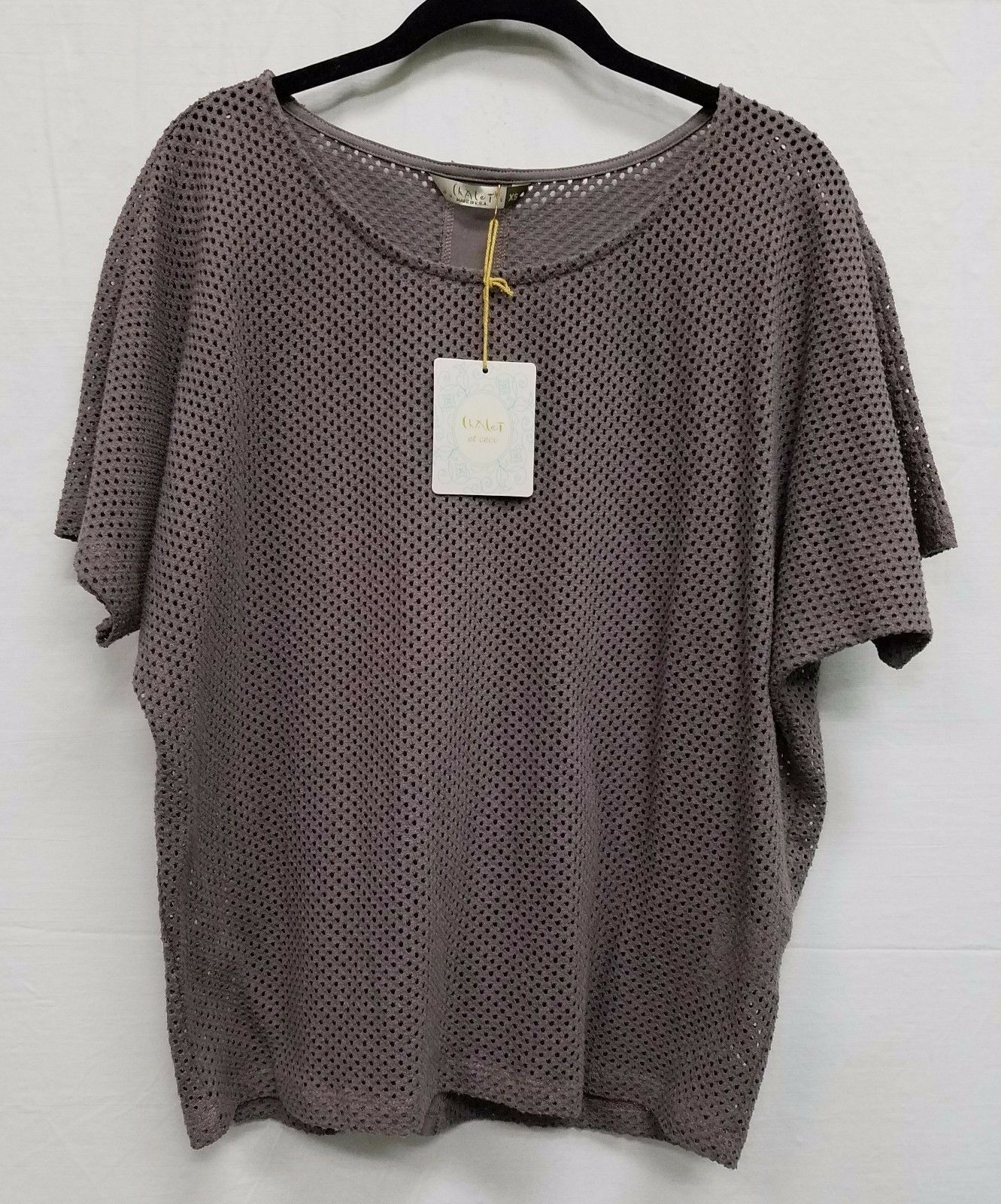 Chalet Eyelet Annisa Top Shirt Bamboo Cotton Knit Style BP72872 NEW with Tags