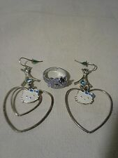 HELLO KITTY 2 Pc Costume Jewelry Lot Heart Earrings & Ring w/ Faux Gems