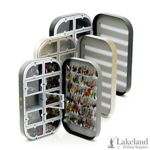Box-C-Aluminium-Fly-Box-Mixed-Trout-Fishing-Flies-Wet-Dry-Buzzer-Nymph-039-s