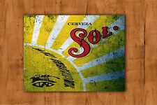 Cerveza Sol Estilo Vintage Publicidad Metal Sign Estaño Pub Bar Home Bar Cueva de hombre