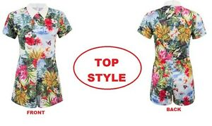 Ladies-Womens-Tropical-Floral-Butterfly-Print-Collar-Playsuit-Shorts