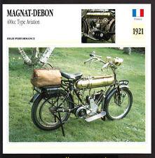 1921 Magnat-Debon 400cc Type Aviation Motorcycle Photo Spec Sheet Info Stat Card