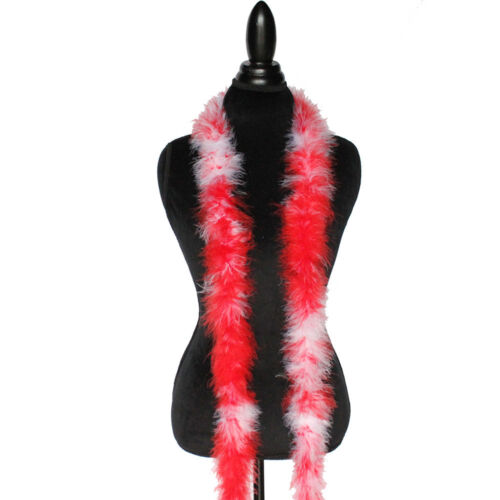 Red //White Mix 22 Grams Marabou Feather Boa 6 Feet Long Crafting Sewing Trim