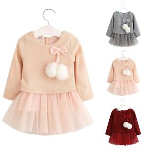 Toddler Baby Girls Kids Clothes Long Sleeve Party Princess Pageant Tutu Dresses