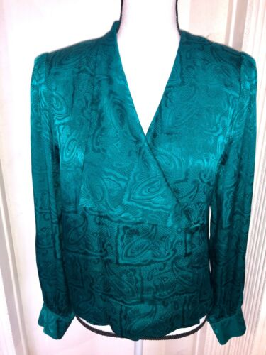 Vintage Silk 70s emerald green Paisley Silk Blouse