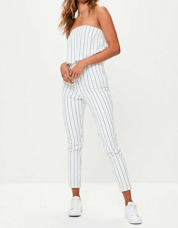 Missguided Stripe Double Layered Jumpsuit In White (M20 12)