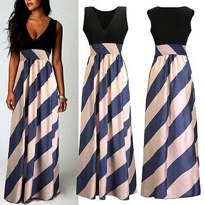 Boho Women Stripe Chiffon Sleeveless Long Maxi Dress Summer Beach Party UK 8-24