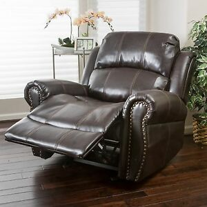 leather glider chair traditional brown leather glider recliner club chair 16636 | s l300