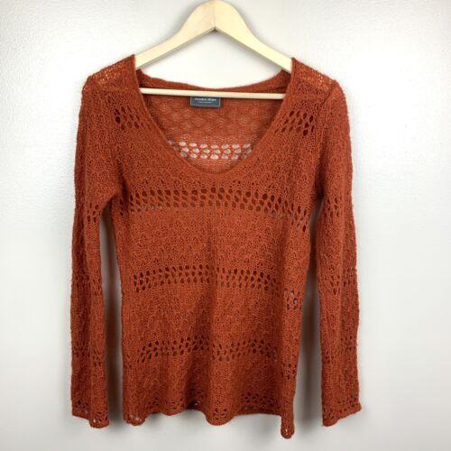 Wooden Ships Open Knit Sweater V-neck Mohair Wool