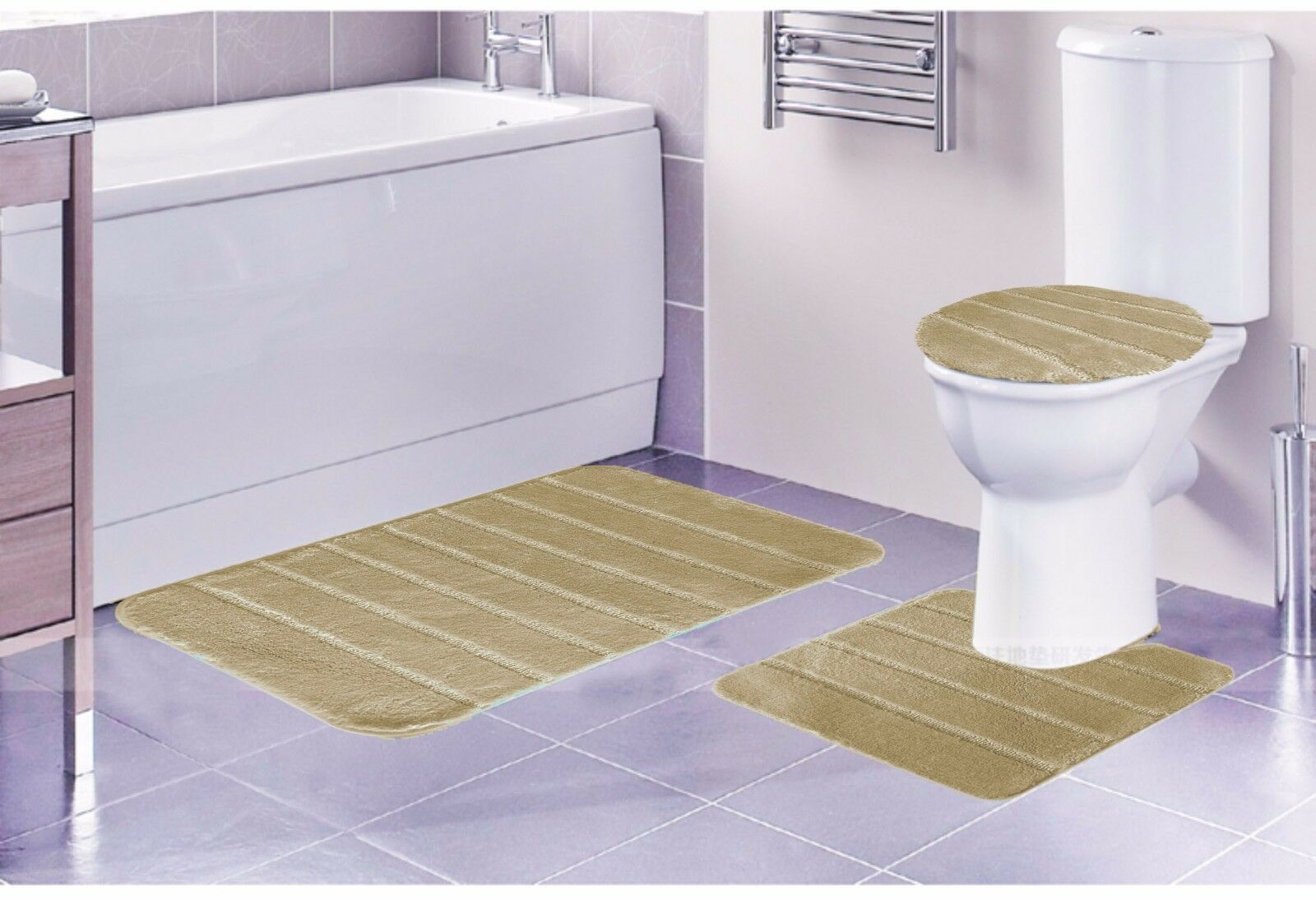 LOUISE 3 PIECE BATHROOM RUG SET BATHROOM RUG CONTOUR RUG