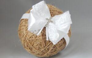 Fascia Fiocco Bambino Bianco Fascia Per Capelli Per Battesimo Battesimo Fiocco in Raso con croce  </span>