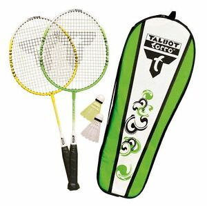 TALBOT-TORRO-Badminton-Set-ATTAQUANT-Junior-vert-jaune-2-raquettes-53cm-2-balles