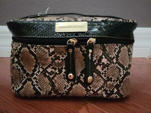 Samantha Brown Cosmetic/Travel Tote (Snakeskin Texture Brown Ivory Taupe)