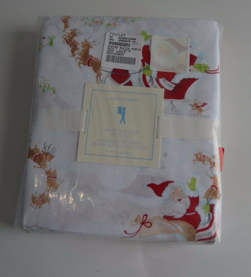 POTTERY BARN Kids Santa's Christmas Sleigh Percale Feuille Set TWIN Rudolph  59
