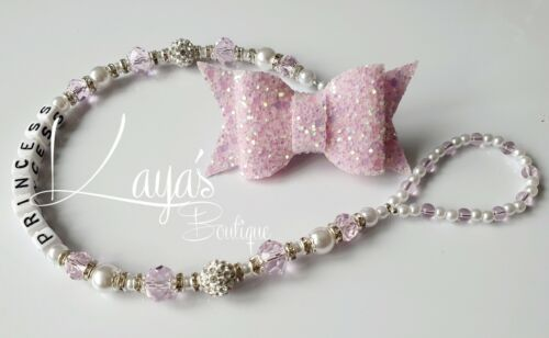 *Sparkle Bow* Bling Romany Crystal /& Pearl Shamballa Dummy Clip Pink *Any Name