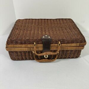 Vintage Suitcase Style Decorative Basket Woven Wicker Rattan Storage Picnic