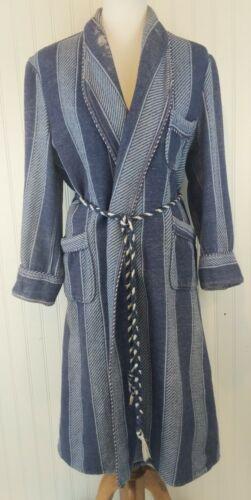 Vintage Beacon Robe Smoking Jacket Belt Blue Strip