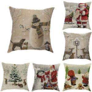 18-034-Snowman-Merry-Christmas-Cotton-Linen-Cushion-Cover-Pillow-Case-Home-Decor-A