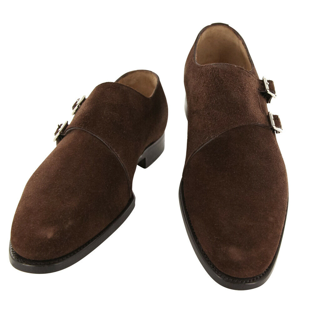 New Kiton Brown Suede Shoes - Double Monk Straps - 11/10 - (USS945C0104)
