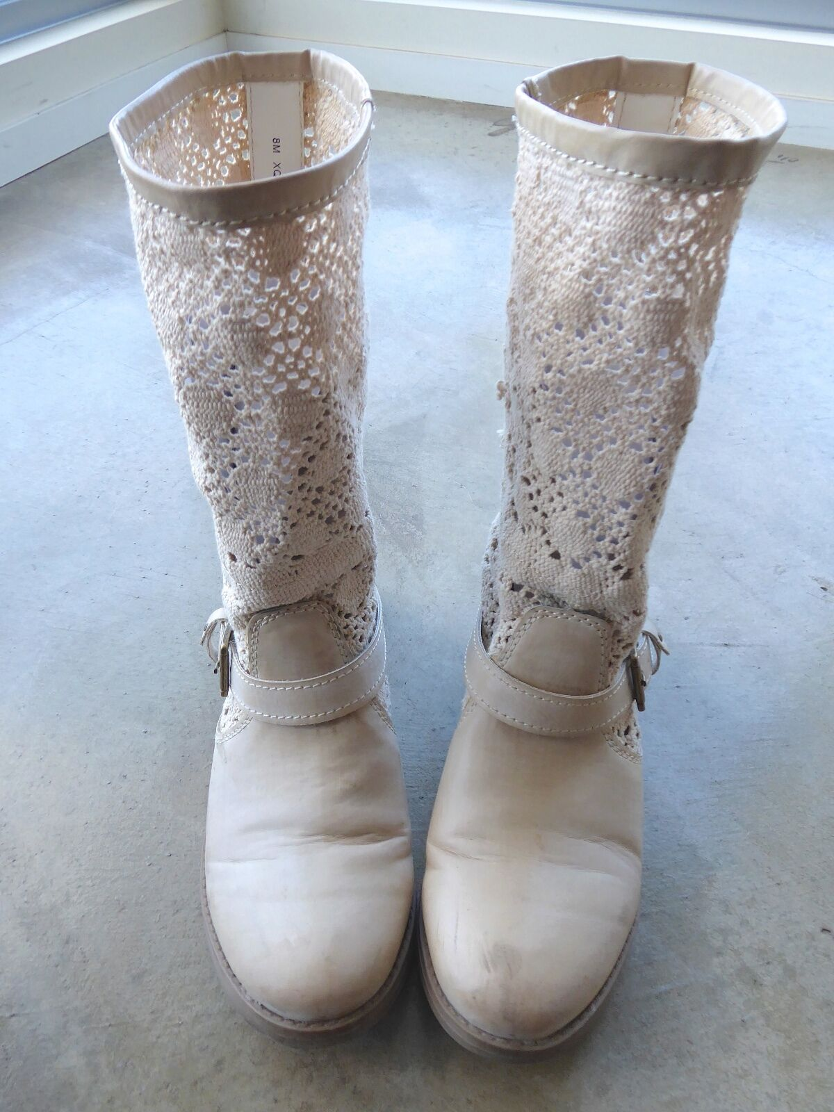 Creme colord Faux Leather Biker Boots and Heavy Lace women's size 8