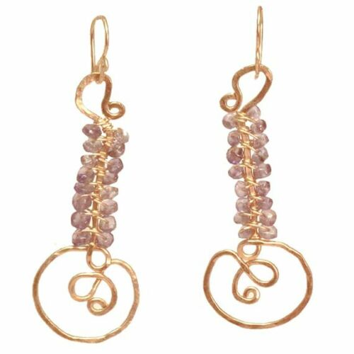 Your Choice of Gemstone Details about  /Luxe Bijoux Swirl Shaped Drop Hammered Earrings